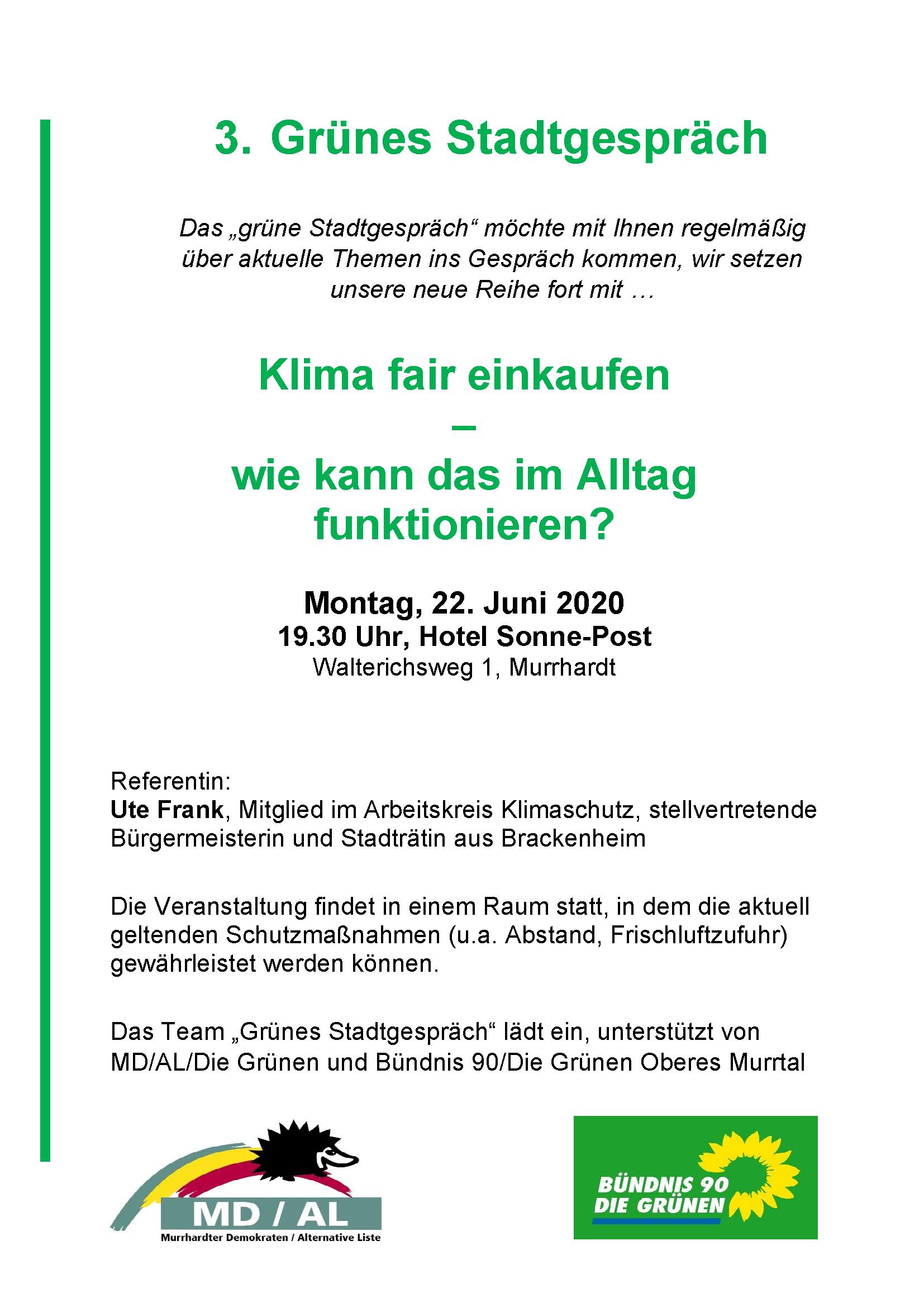 """3. Grünes Stadtgespräch am 22.06. 2020 zum Thema """"Klima fair einkaufen"""""""